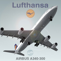 airbus a340-300 lufthansa 3d model