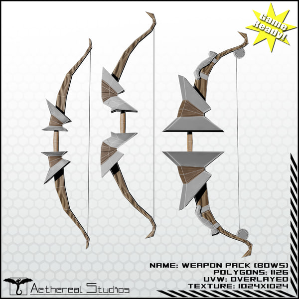3d bows fantasy weapon pack fantasy weapon bow pack by