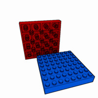piece lego brick 8x8 3d model