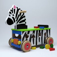 wooden ride-on zebra 3d model