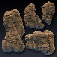 3d rock blocks faces cliffs model