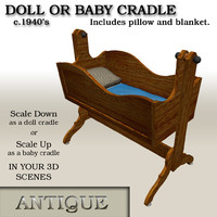 antique wood cradle 3d model