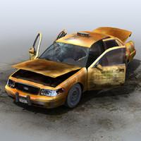 derelict car taxi 3d xsi