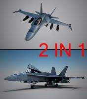 f-18 pilot 3d max