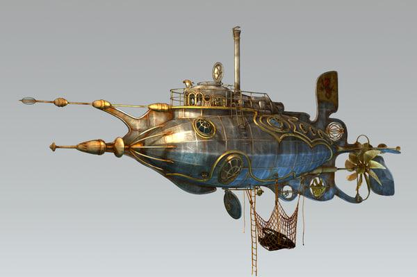 Steampunk steam dieselpunk submarine max for Nautilus garden designs