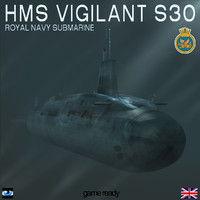 3d hms vigilant s30 submarine model