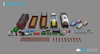 pack train cargo 3d model