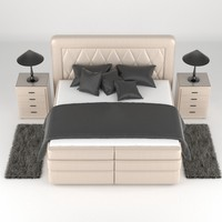 boxspring bed lamp 3d