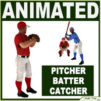 catcher pitcher batter 3d model