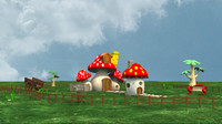 cartoonic mushroom house 3d model