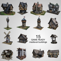 3ds max pack 15 medieval buildings