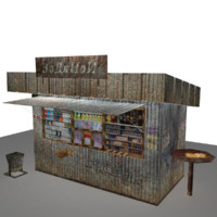 3d model of minishop stall