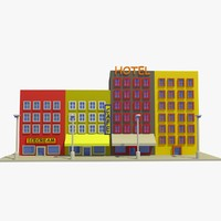 3d cartoon street 3 buildings