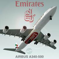 3dsmax airbus a340-500 emirates