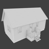 wood clad cabin interior 3d model