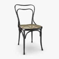 wooden chair woven cane obj