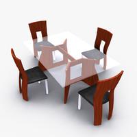 3ds max modern dining room set
