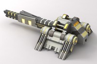 sci-fi laser cannon yellow 3d model