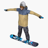 3d realistic snowboard gameready model