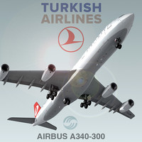 3d airbus a340-300 turkish airlines