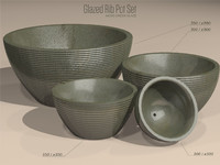 Glazed Ribbed Pot Set