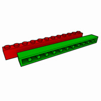 piece lego brick 1x12 3d model