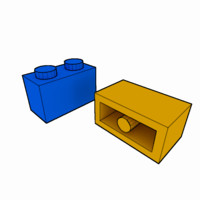 3d piece lego brick 1x2 model