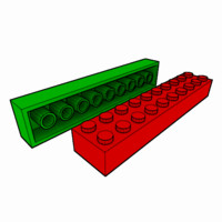 piece lego brick 2x10 3d model