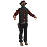 3d model wild west cowboy