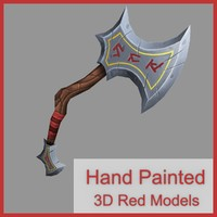 hand painted axe 3d obj