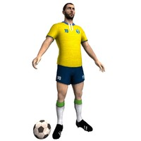 3d retro soccer player