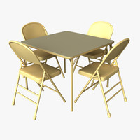 folding table chairs 3d obj