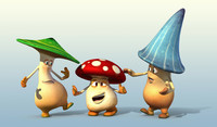 3d model 3 mushroom cartoon characters