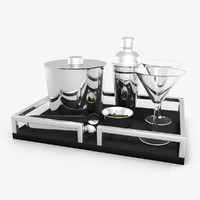 3d martini serving set