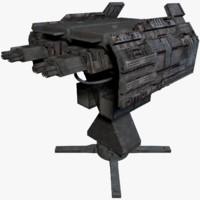 sci fi turret 3d obj