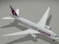 b 777-200 qatar airways 3d obj