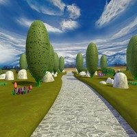 Cartoon Landscape and Path Scene