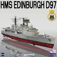 hms edinburgh d97 type 3d model