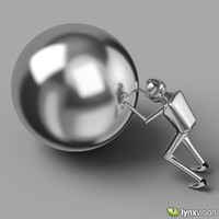 chromed man ball sculpture 3d max