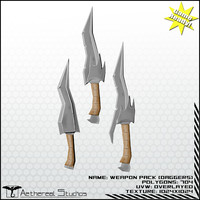 3d model daggers fantasy weapon pack