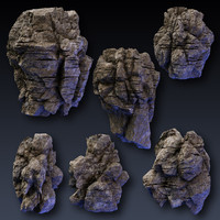 rock blocks faces cliffs 3d max
