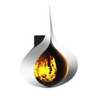 3d modern wall fireplace