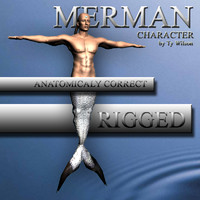 3d model of rigged merman
