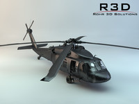 transport helicopter uh-60 3d model