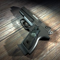 3ds max automatic 9mm handgun gun