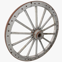 3d old wagon wheel