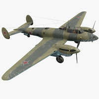 petlyakov pe-2i russian world war 3d model