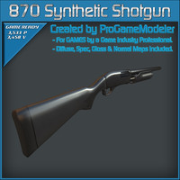 3d model remington 870 synthetic shotgun
