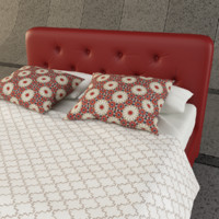 bed bedroom pillow 3d model