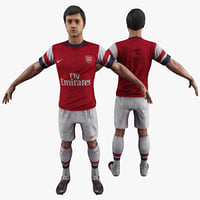 soccer player 3 rigged 3d model
